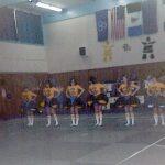 Cheerleading 1978 Arctic Winter Games - L to R, Lynne, Corine, Susan, Glenda, Valorie & Cindy
